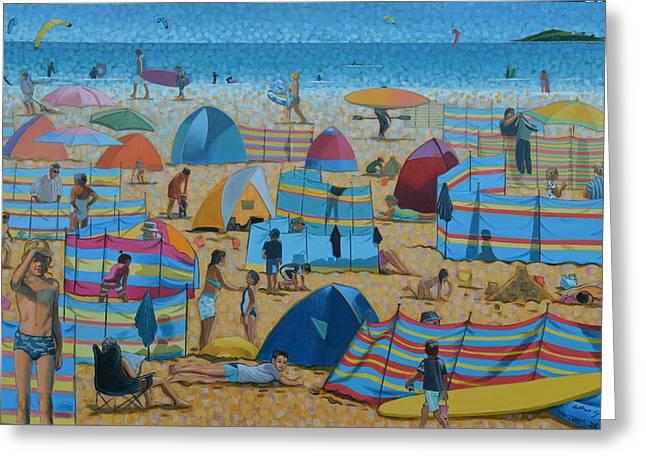 Kite Surfing Paintings Greeting Cards - Bantham Beach High Season Greeting Card by Arthur Glendinning