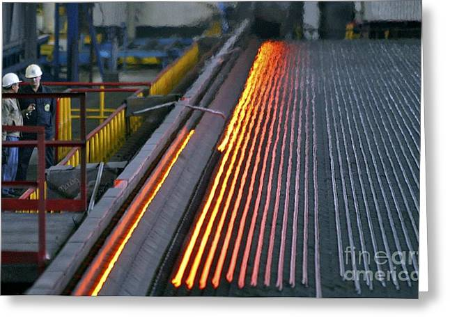 Metalworker Greeting Cards - Bar-rolling Mill Processing Molten Metal Greeting Card by RIA Novosti
