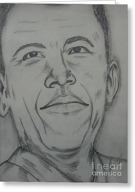 Barack Greeting Cards - Barack Obama Greeting Card by Collin A Clarke