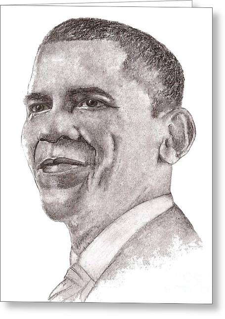 Barack Greeting Cards - Barack Obama Greeting Card by Nan Wright