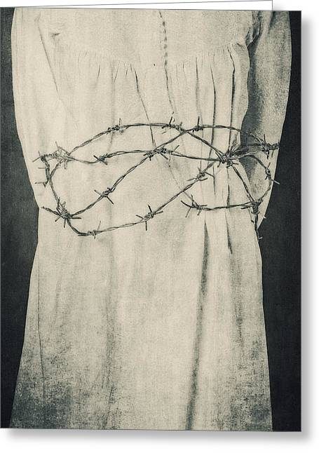 Violiating Greeting Cards - Barbed Wire Greeting Card by Joana Kruse