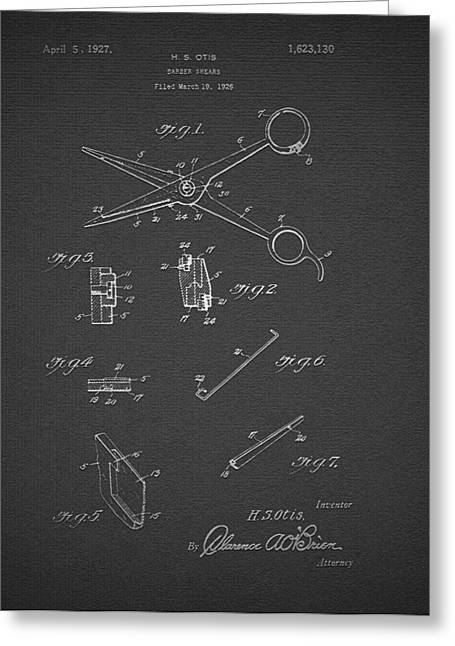 Scissors Greeting Cards - Barber Shears Patent 1927 Greeting Card by Mountain Dreams