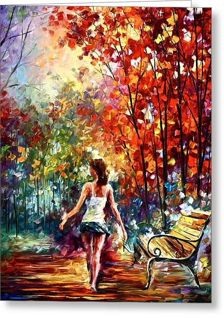 Park Benches Paintings Greeting Cards - Barefooted Stroll Greeting Card by Leonid Afremov