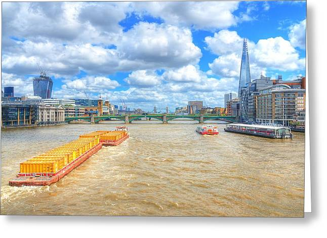 Shards Greeting Cards - Barge on the Thames Greeting Card by Jim Hughes