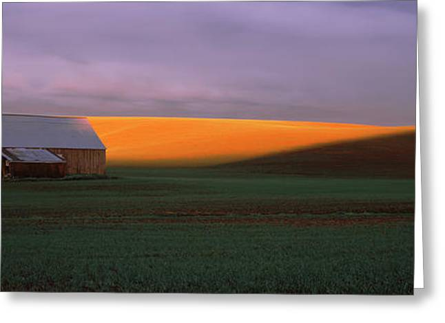 Farm Building Greeting Cards - Barn In A Field At Sunset, Palouse Greeting Card by Panoramic Images