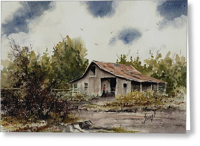 Farm Shed Paintings Greeting Cards - Barn Greeting Card by Sam Sidders