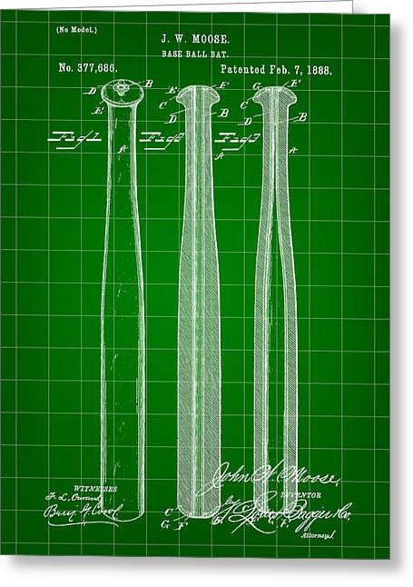 Fast Ball Digital Greeting Cards - Baseball Bat Patent 1888 - Green Greeting Card by Stephen Younts