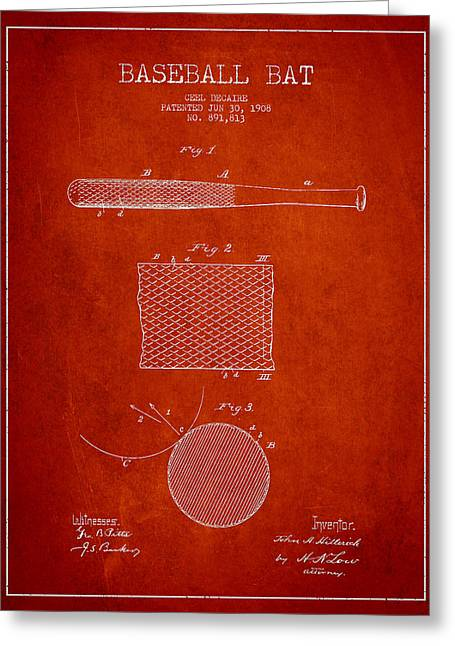 Baseball Glove Greeting Cards - Baseball Bat Patent Drawing From 1904 Greeting Card by Aged Pixel