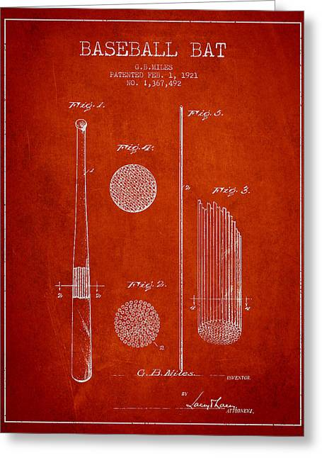 Baseball Bat Greeting Cards - Baseball Bat Patent Drawing From 1921 Greeting Card by Aged Pixel