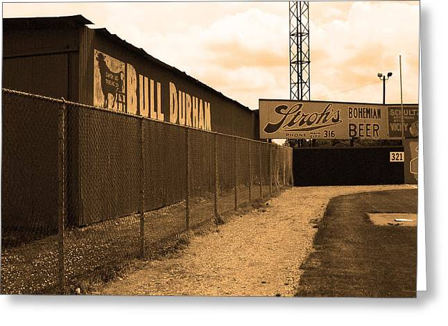 Negro League Greeting Cards - Baseball Field Bull Durham Sign Greeting Card by Frank Romeo