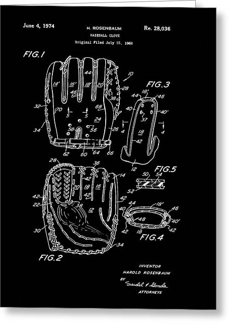Leather Glove Drawings Greeting Cards - Baseball Glove Patent 1974 Greeting Card by Mountain Dreams