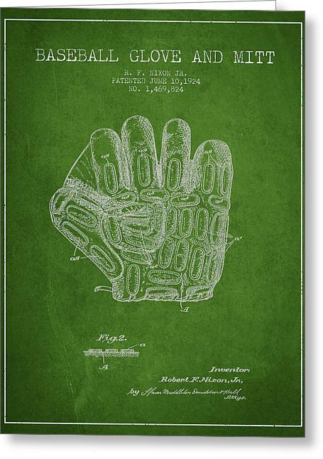 Baseball Glove Patent Drawing From 1924 Greeting Card by Aged Pixel