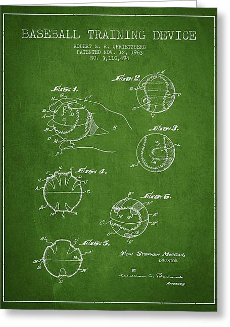 Base Balls Greeting Cards - Baseball Training Device Patent Drawing From 1963 Greeting Card by Aged Pixel