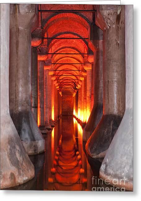 Justinian Greeting Cards - Basilica Cistern 02 Greeting Card by Antony McAulay