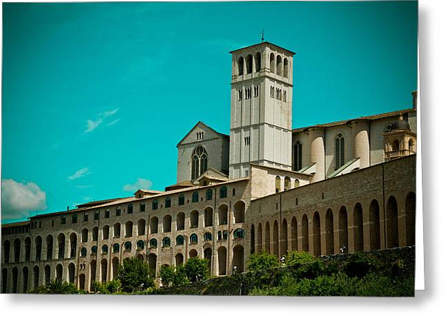 Italy Pyrography Greeting Cards - Basilica Of San Francesco Assisi  Greeting Card by Raimond Klavins