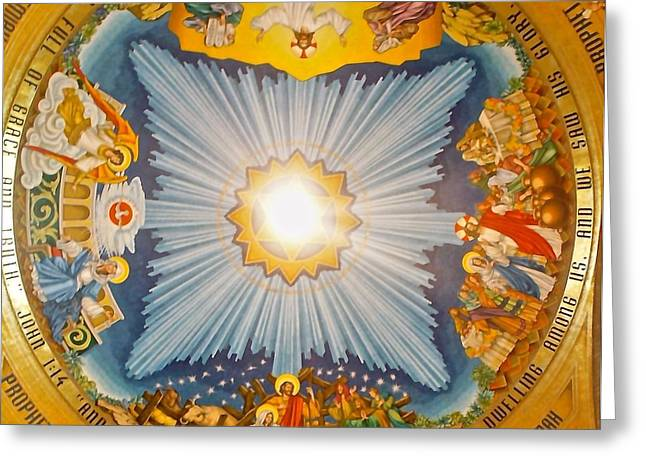 Cloud Greeting Cards - Basilica of the National Shrine  Greeting Card by Sheela Ajith