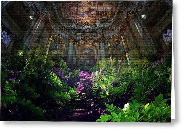 Cupola Mixed Media Greeting Cards - RUD#004 - Basilica St. Ignatio De Loyola Greeting Card by Remus Ovidiu Udrescu