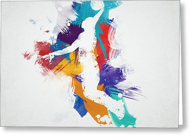 Splatter Greeting Cards - Basketball Player Greeting Card by Aged Pixel