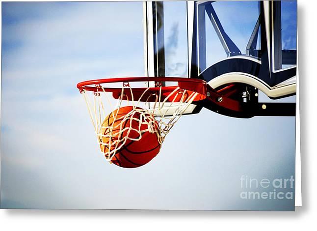 Basket Ball Game Greeting Cards - Basketball Shot Greeting Card by Lane Erickson