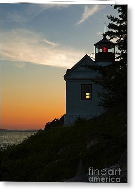 Bass Harbor Greeting Cards - Bass Harbor Lighthouse Greeting Card by Diane Diederich