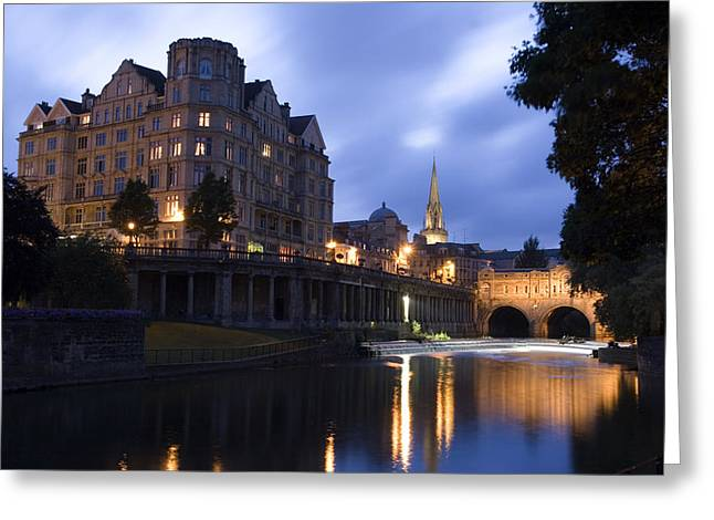 Somerset - England Greeting Cards - Bath City Spa viewed over the River Avon at night Greeting Card by Mal Bray