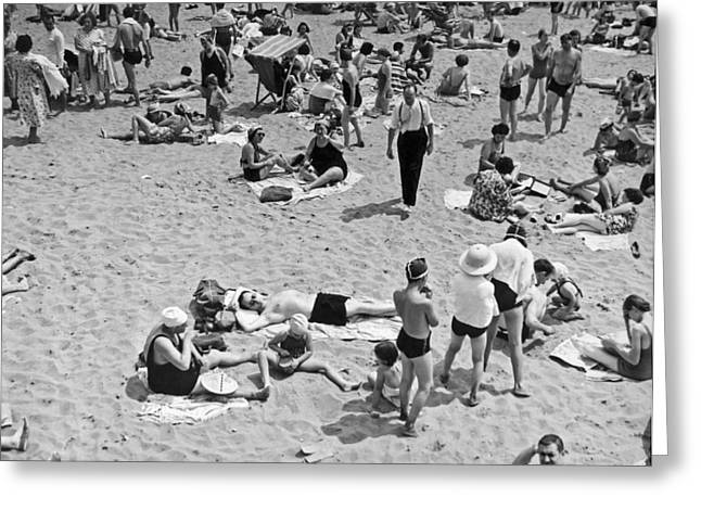 York Beach Greeting Cards - Bathers At Coney Island. Greeting Card by Underwood Archives