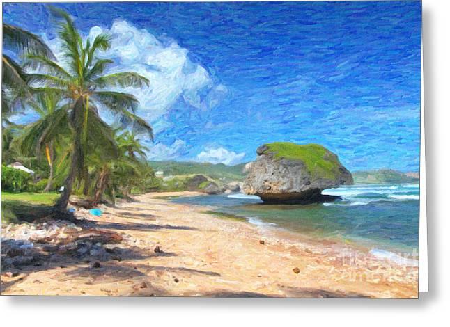 Greater Antilles Greeting Cards - Bathsheba Beach in Barbados Greeting Card by Verena Matthew