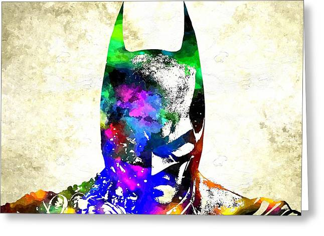 Gotham City Mixed Media Greeting Cards - Batman Greeting Card by Daniel Janda