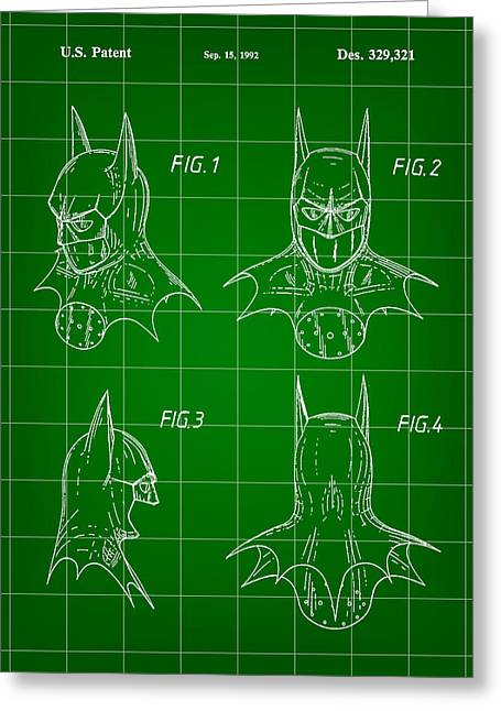 Caped Crusader Greeting Cards - Batman Patent 1992 - Green Greeting Card by Stephen Younts