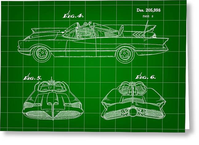 Caped Crusader Greeting Cards - Batmobile Patent 1966 - Green Greeting Card by Stephen Younts