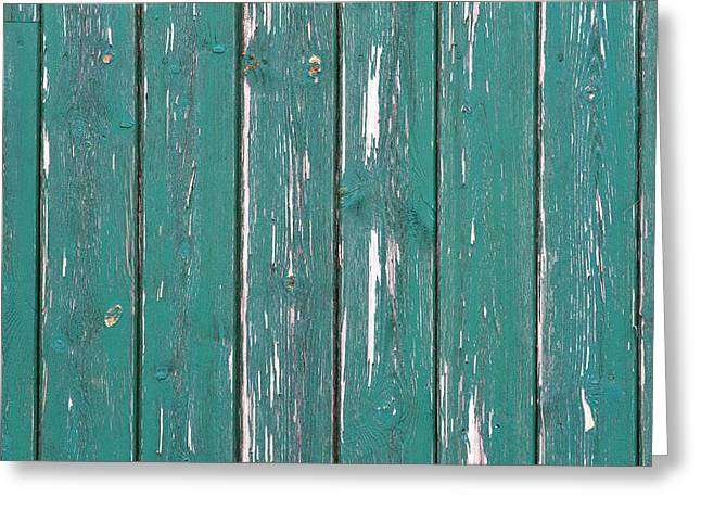 Old Panelled Door Greeting Cards - Battered wooden Wall Greeting Card by Fizzy Image