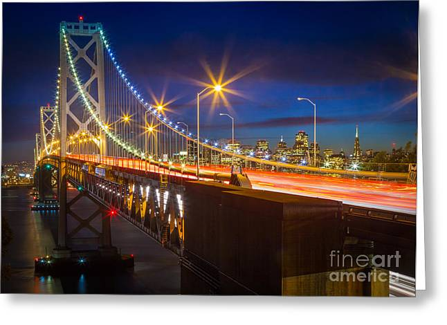 Bay Bridge Photographs Greeting Cards - Bay Bridge Greeting Card by Inge Johnsson