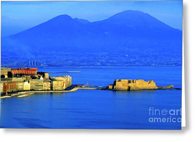 Townscape Digital Art Greeting Cards - Bay of Naples Greeting Card by Sami Sarkis
