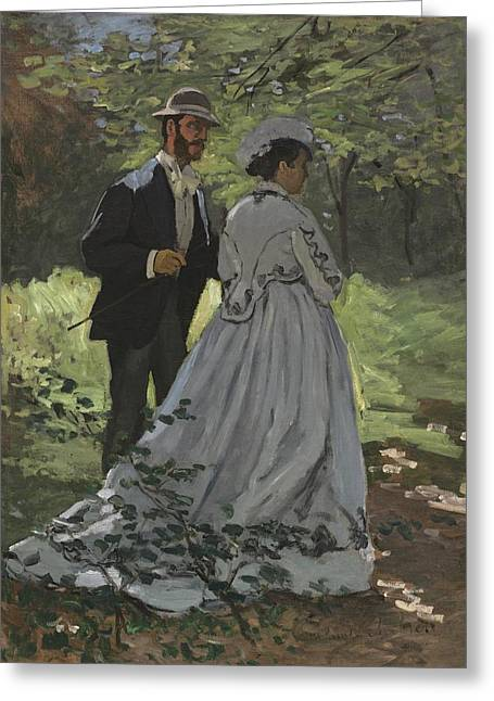 Violet Blue Pastels Greeting Cards - Bazille and Camille Greeting Card by Claude Monet