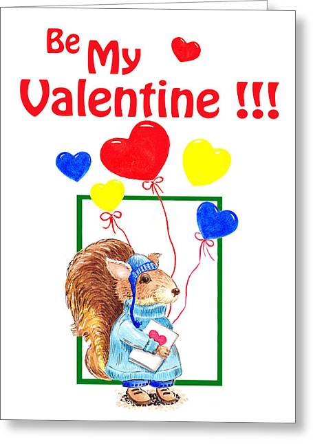 Love The Animal Paintings Greeting Cards - Be My Valentine Greeting Card by Irina Sztukowski