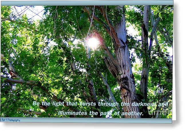 Print On Acrylic Greeting Cards - Be the Light Greeting Card by Bobbee Rickard