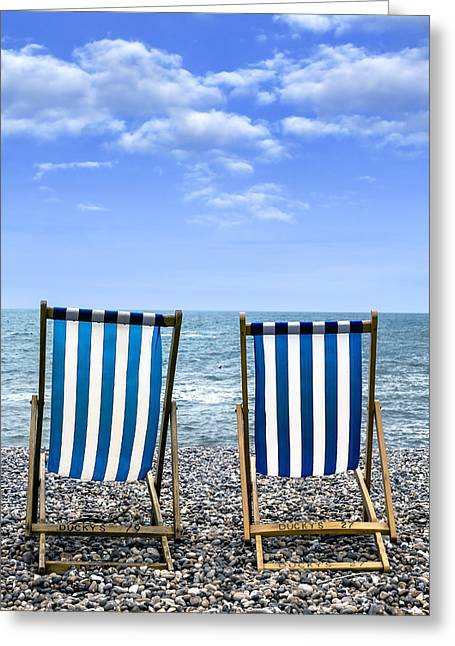 Deck Chairs Greeting Cards - Beach Chairs Greeting Card by Joana Kruse