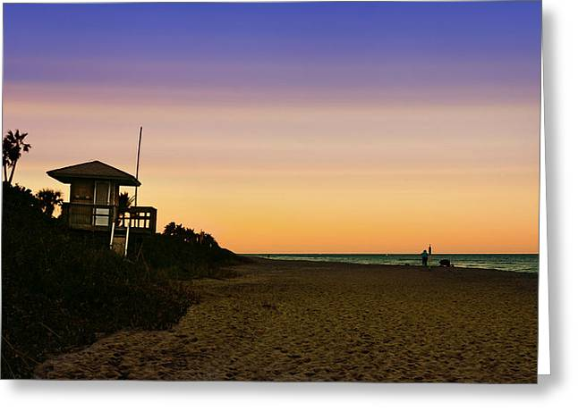 Silhoette Greeting Cards - Beach Hut Greeting Card by Laura  Fasulo