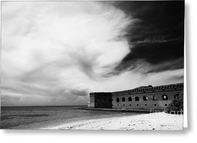 Dry Tortugas Greeting Cards - Beach In Front Of Fort Jefferson Brick Walls With Moat Dry Tortugas National Park Florida Keys Usa Greeting Card by Joe Fox