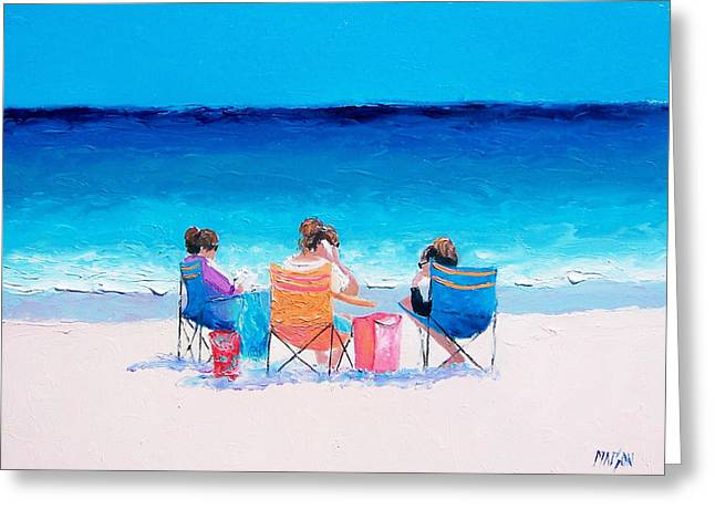 Art Mobile Greeting Cards - Beach Painting Girl friends by Jan Matson Greeting Card by Jan Matson