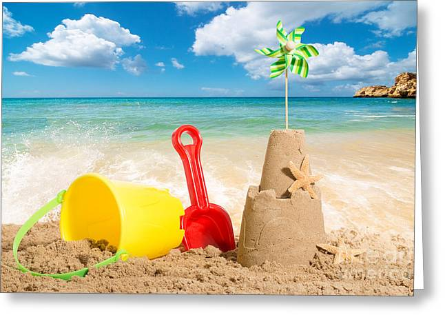 Golden Sand Greeting Cards - Beach Scene Greeting Card by Amanda And Christopher Elwell