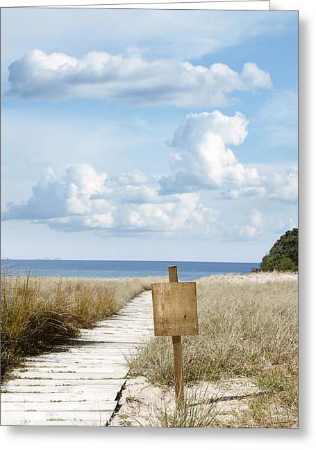 Blank Photo Greeting Cards - Beach sign Greeting Card by Les Cunliffe
