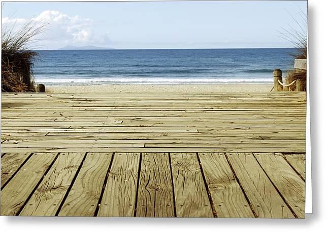 Beach Photos Greeting Cards - Beach view Greeting Card by Les Cunliffe