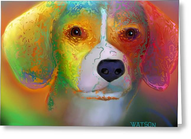 Cut-outs Digital Art Greeting Cards - Beagle Greeting Card by Marlene Watson