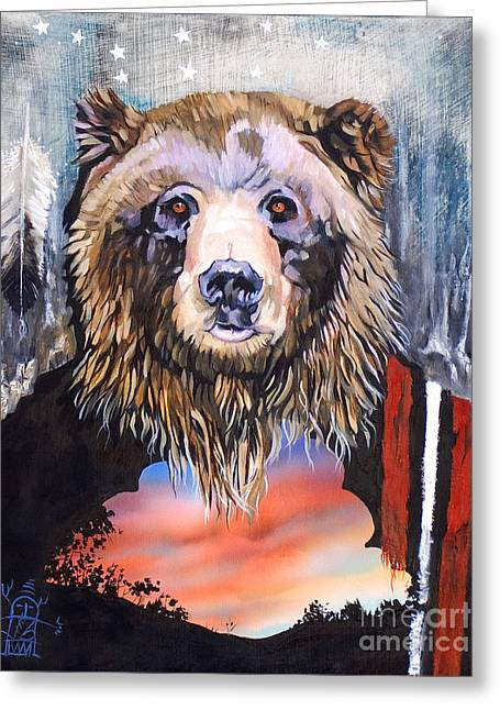 Bear Medicine Greeting Card by J W Baker