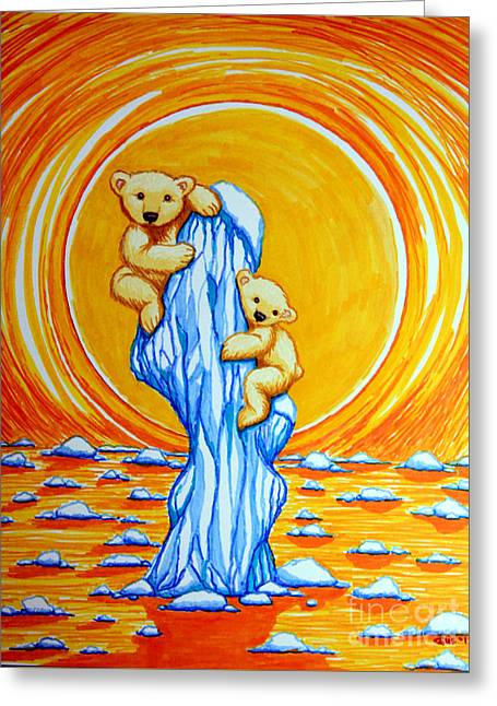 Concern Drawings Greeting Cards - Bearly Hanging On Greeting Card by Nick Gustafson