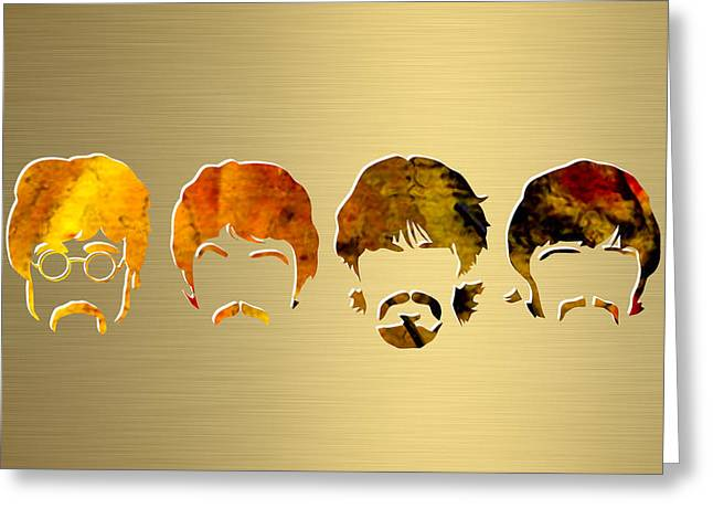 Rock N Roll Greeting Cards - Beatles Gold Series Greeting Card by Marvin Blaine
