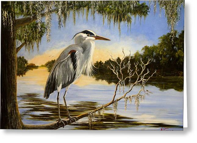 Recently Sold -  - Water Fowl Greeting Cards - Beau Bleu Greeting Card by Nancy Cason