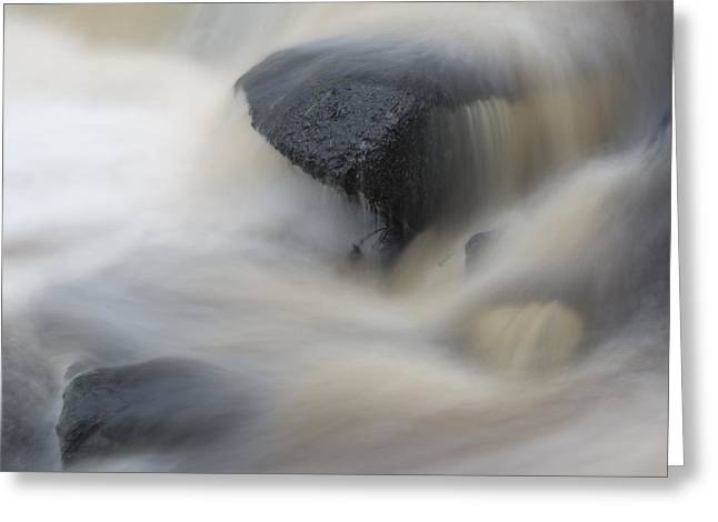 Water Flowing Greeting Cards - Beautiful detail of waterfall river flowing over rock Greeting Card by Matthew Gibson
