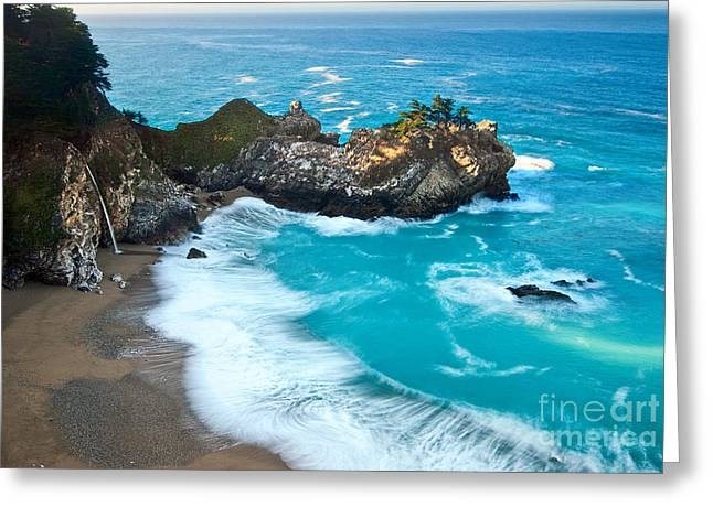 Recently Sold -  - Pfeiffer Beach Greeting Cards - Beautiful McWay Falls along the Big Sur Coast. Greeting Card by Jamie Pham
